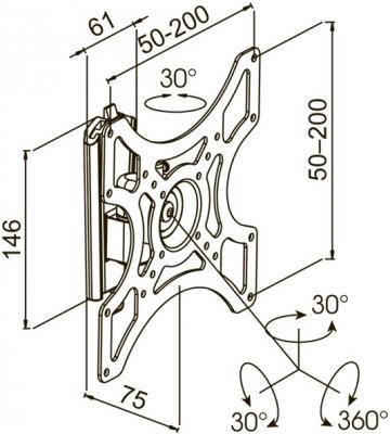 Кронштейн для телевизора Kromax Galactic-7 (черный) - схематичное изображение