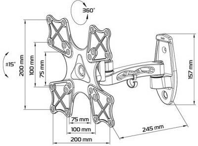 Кронштейн для телевизора Tuarex ALTA-4008 - габаритные размеры