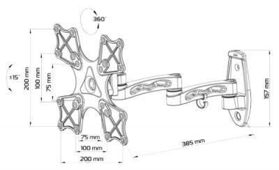 Кронштейн для телевизора Tuarex ALTA-4009 - габариты
