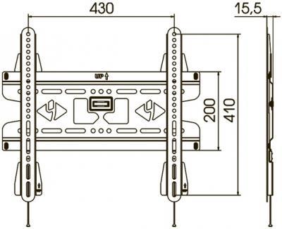 Кронштейн для телевизора Kromax Vega-50 (темно-серый) - схематичное изображение