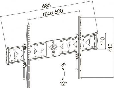 Кронштейн для телевизора Kromax Flat-2 (темно-серый) - габаритные размеры