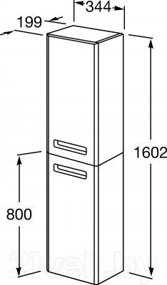 Шкаф-пенал для ванной Roca The Gap ZRU9302697 (бежевый) - технический чертеж