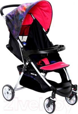 Детская прогулочная коляска Happy Dino LC360 (розовый с ромбами) - общий вид