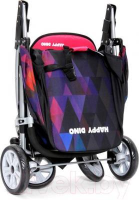 Детская прогулочная коляска Happy Dino LC360 (голубой с ромбами) - общий вид