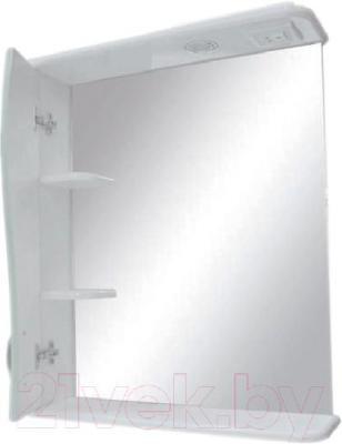 Зеркало для ванной Кветка Квадрат П-600.2 (левая, белый) - дополнительные полки, скрытые за дверцей