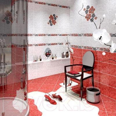 Декоративная плитка для ванной Azori Валькирия Цветы 1 (405x201)