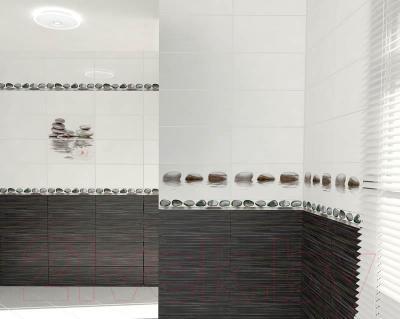 Декоративная плитка для ванной Нефрит-Керамика Панно Фреш Лотос Черный (500x500)