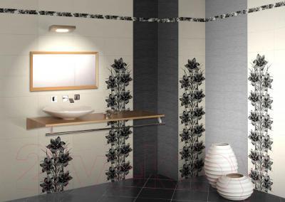 Декоративная плитка для ванной Нефрит-Керамика Piano 2 (400x250, черный)