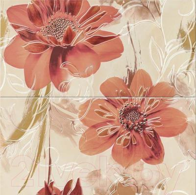 Декоративная плитка для ванной Opoczno Панно Lazio Beige Flower WD282-009 (593x583)
