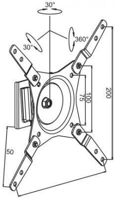 Кронштейн для телевизора Kromax Dix-10 (темно-серый) - схематическое изображение