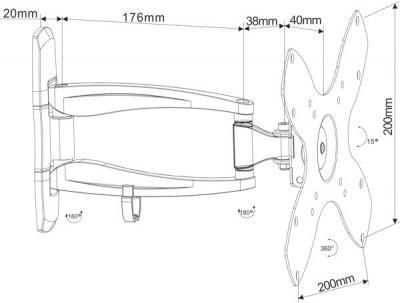 Кронштейн для телевизора Arm Media COBRA-201 Black - схематическое изображение