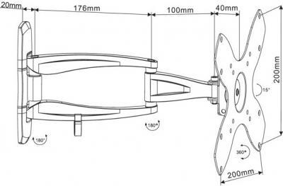 Кронштейн для телевизора Arm Media COBRA-202 Black - схематическое изображение