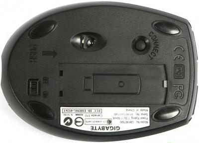 Клавиатура+мышь Gigabyte GK-KM7500-04R-RU - вид мыши снизу