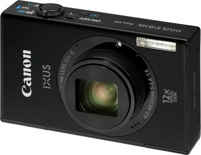Компактный фотоаппарат Canon IXUS 510 HS Black - Вид спереди
