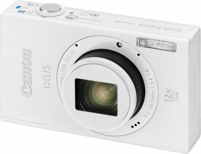 Компактный фотоаппарат Canon IXUS 510 HS (белый) - Вид спереди
