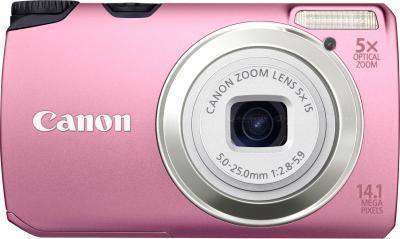 Компактный фотоаппарат Canon PowerShot A3200 IS Pink - Вид спереди