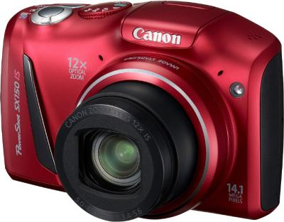 Компактный фотоаппарат Canon PowerShot SX150 IS Red - Вид спереди