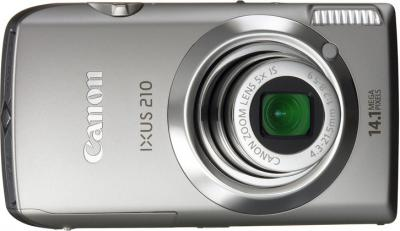 Компактный фотоаппарат Canon Digital IXUS 210 IS (PowerShot SD3500 IS) Silver - Вид спереди