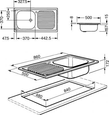 Мойка кухонная Smeg LX861S-2 - схема встраивания