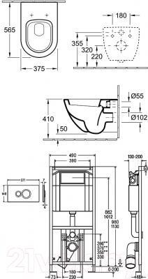 Унитаз подвесной Villeroy & Boch Subway 6600-10-01 (альпийский белый)
