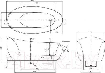 Ванна квариловая Villeroy & Boch Aveo New Generation UBQ194AVE9W1V-01 (190x95, с панелью)