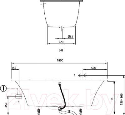 Ванна акриловая Villeroy and Boch My Art Duo UBQ180MYA2V-01 (180x80, с ножками)