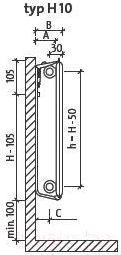 Радиатор стальной Purmo Hygiene h10 300x400