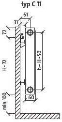 Радиатор стальной Purmo Compact C11 500x1100