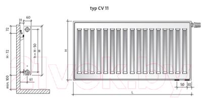 Радиатор стальной Purmo Ventil Compact CV11 500x900