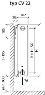 Радиатор стальной Purmo Ventil Compact CV22 500х1400