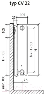 Радиатор стальной Purmo Ventil Compact CV22 500x900