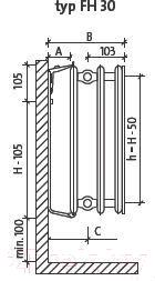 Радиатор стальной Purmo Plan Hygiene FH30 600х1000