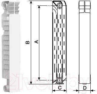 Радиатор алюминиевый Nova Florida Big Super 350/100 (5 секций)