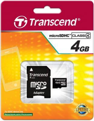 Карта памяти Transcend microSDHC (Class 4) 4GB + адаптер (TS4GUSDHC4) - общий вид