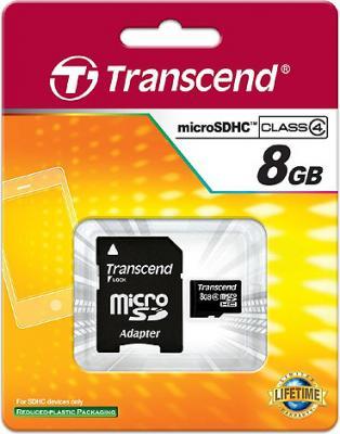 Карта памяти Transcend microSDHC (Class 4) 8GB + адаптер (TS8GUSDHC4) - общий вид