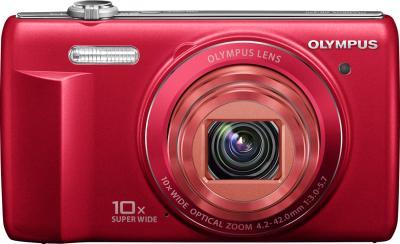 Компактный фотоаппарат Olympus VR-340 Red - вид спереди