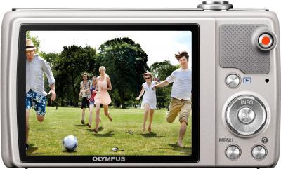 Компактный фотоаппарат Olympus VR-340 Silver - вид сзади