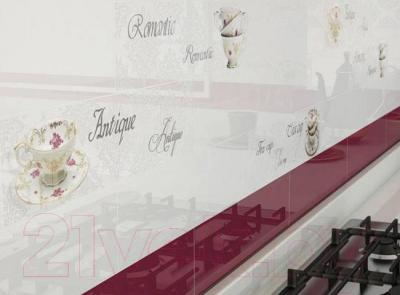 Декоративная плитка для кухни Monopole Veronika Romantique Blanco Brillo (400x100)