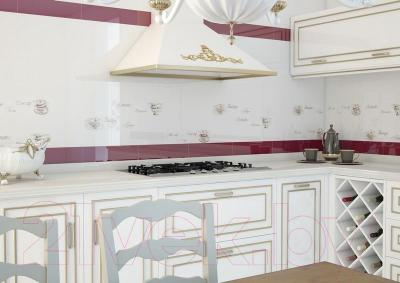 Декоративная плитка для кухни Monopole Veronika Tea Cup Blanco Brillo (400x100)