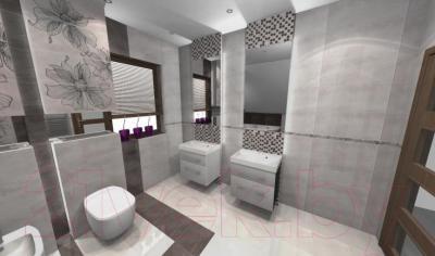 Декоративная плитка для ванной Pilch Панно Vulcano 1 (1200x600, серый)