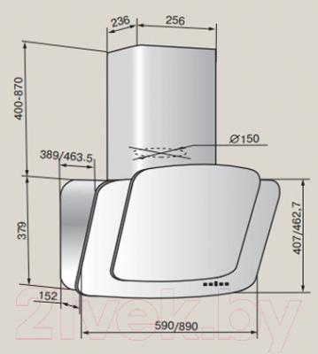 Вытяжка декоративная Teka DCA 90 HP / 40000002 (слоновая кость)