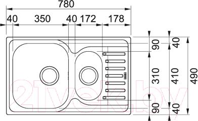 Мойка кухонная Franke PXN 651-78 (101.0192.922) - схема