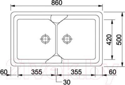 Мойка кухонная Franke COG 620 (114.0185.286) - схема