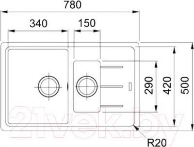 Мойка кухонная Franke BFG 651-78 (114.0280.893) - схема