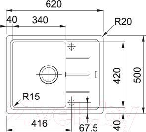 Мойка кухонная Franke BFG 611C (114.0313.334) - схема