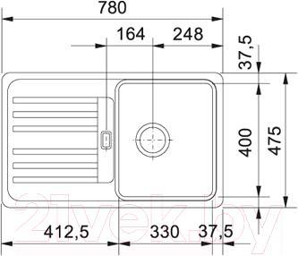 Мойка кухонная Franke EFG 614-78 (114.0185.133) - схема