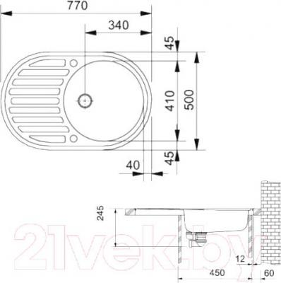 Мойка кухонная Franke ROG 611 (114.0296.605) - схема