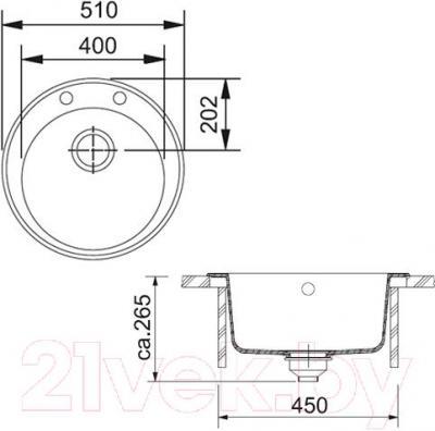 Мойка кухонная Franke ROG 610-41 (114.0263.237) - схема