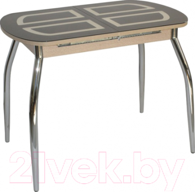 Обеденный стол Кубика Портофино-1 (дуб беленый/коричневый с рис.)