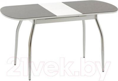 Обеденный стол Кубика Портофино-1 (белый/хром) - в разложенном виде